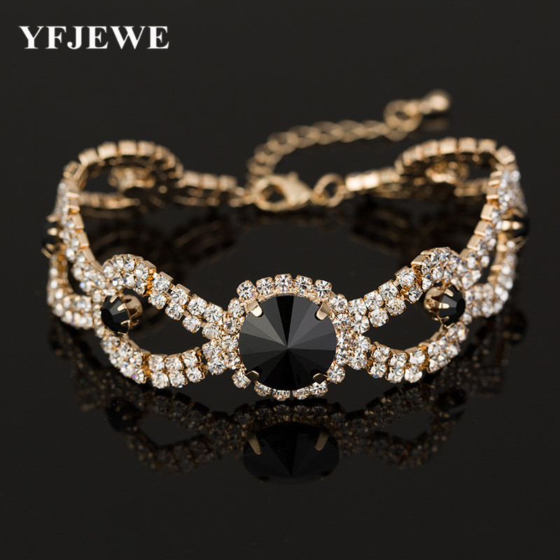 2017 Wedding Bracelets & Bangles New Arrival full star super shiny rhinestone crystal silver ladies link chain bracelets B009