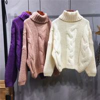 Autumn Winter Women Cable Sweater Twist Shape Turtleneck Thick Warm Pullover Feminine Purple Pink White Brown Yellow Knit Jumper