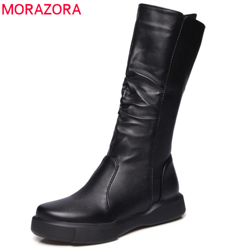 MORAZORA Mid calf boots in autumn fashion boots PU soft leather half boots female platform round toe zip big size 34-43 riding boots chunky heels platform faux pu leather round toe mid calf boots fashion cross straps 2017 new hot woman shoes