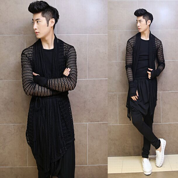 Costumes Male Long Men's Fashion Hollow Shawl Tops Clubs Offbeat Hip-Hop Leisure All-Match-Character