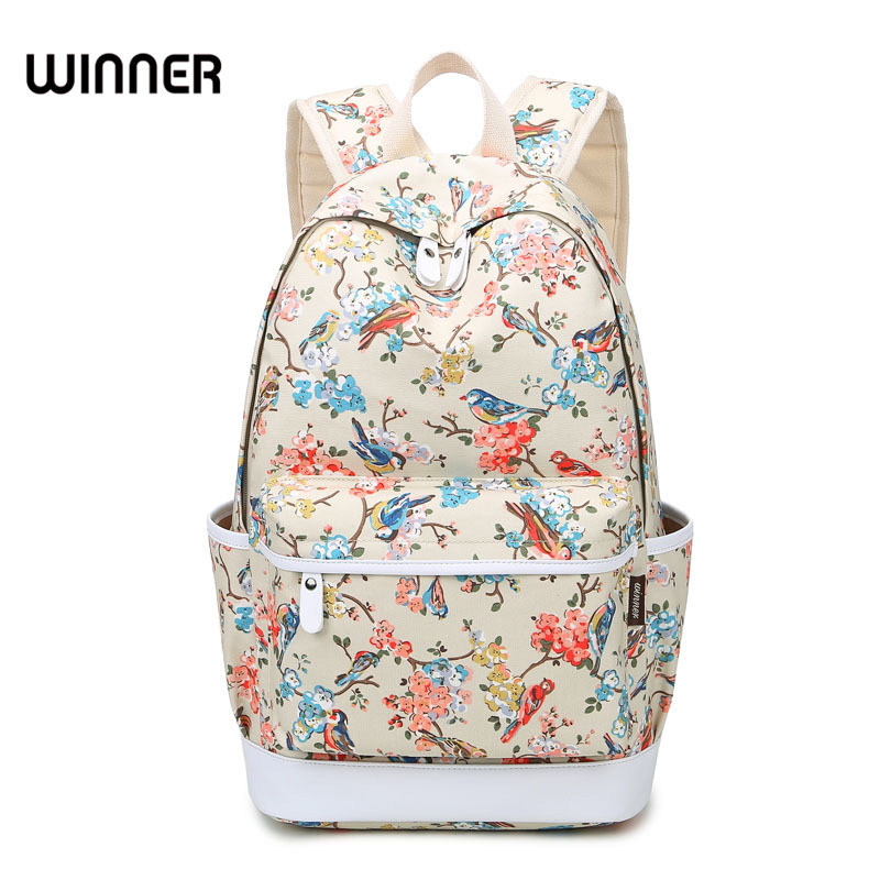 Winner Waterproof Bird Printing Backpack Women Canvas School Bags for Teenage girls Travel Bag Rucksack Flower Backpack Female cute cartoon women bag flower animals printing oxford storage bags kawaii lunch bag for girls food bag school lunch box z0