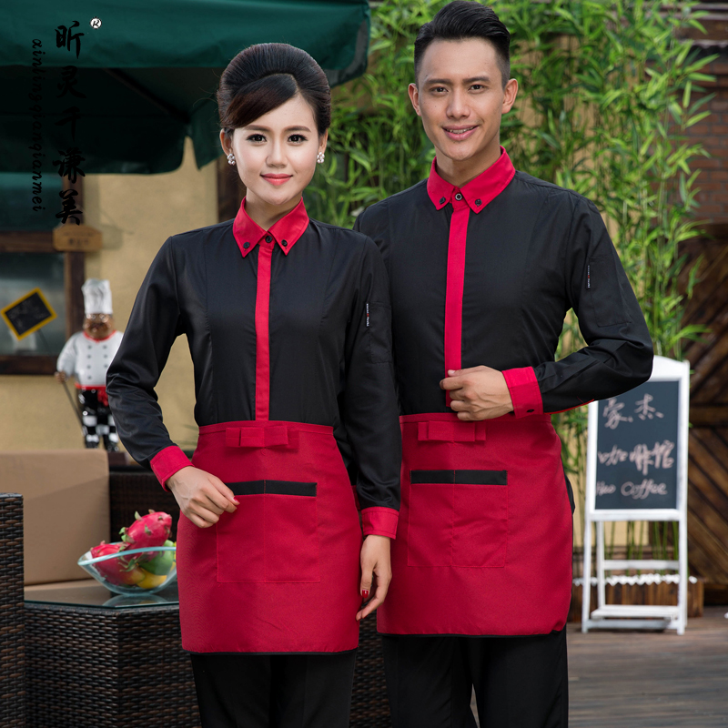 New Arrival Hotel Uniform Autumn Winter Female Clothing Waiter Restaurant Uniforms Male Long Sleeved Hot Pot Overall J024