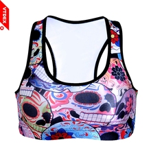VTDEX 2017 New 3d Colorful Skull Flower Sports Bra Cropped Summer Style Women GYM Padded Fitness Tops Vest Push Up Seamless