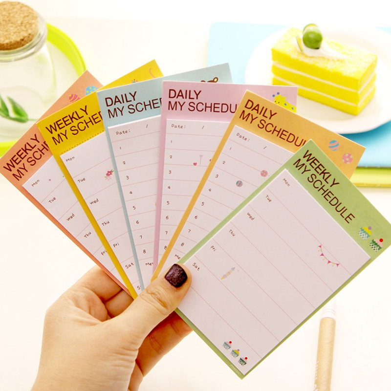 1PCS Kwaii Desk Weekly Daily Sticky Planner Cartoon Sticky Notes Post Memo Pad Color Random