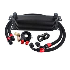 Image 5 - AN10 Universal 13 แถว Oil Cooler Kit + ตัวกรองแซนวิชอะแดปเตอร์ + ไนลอนสแตนเลสถัก AN10 ท่อ + สายแยก