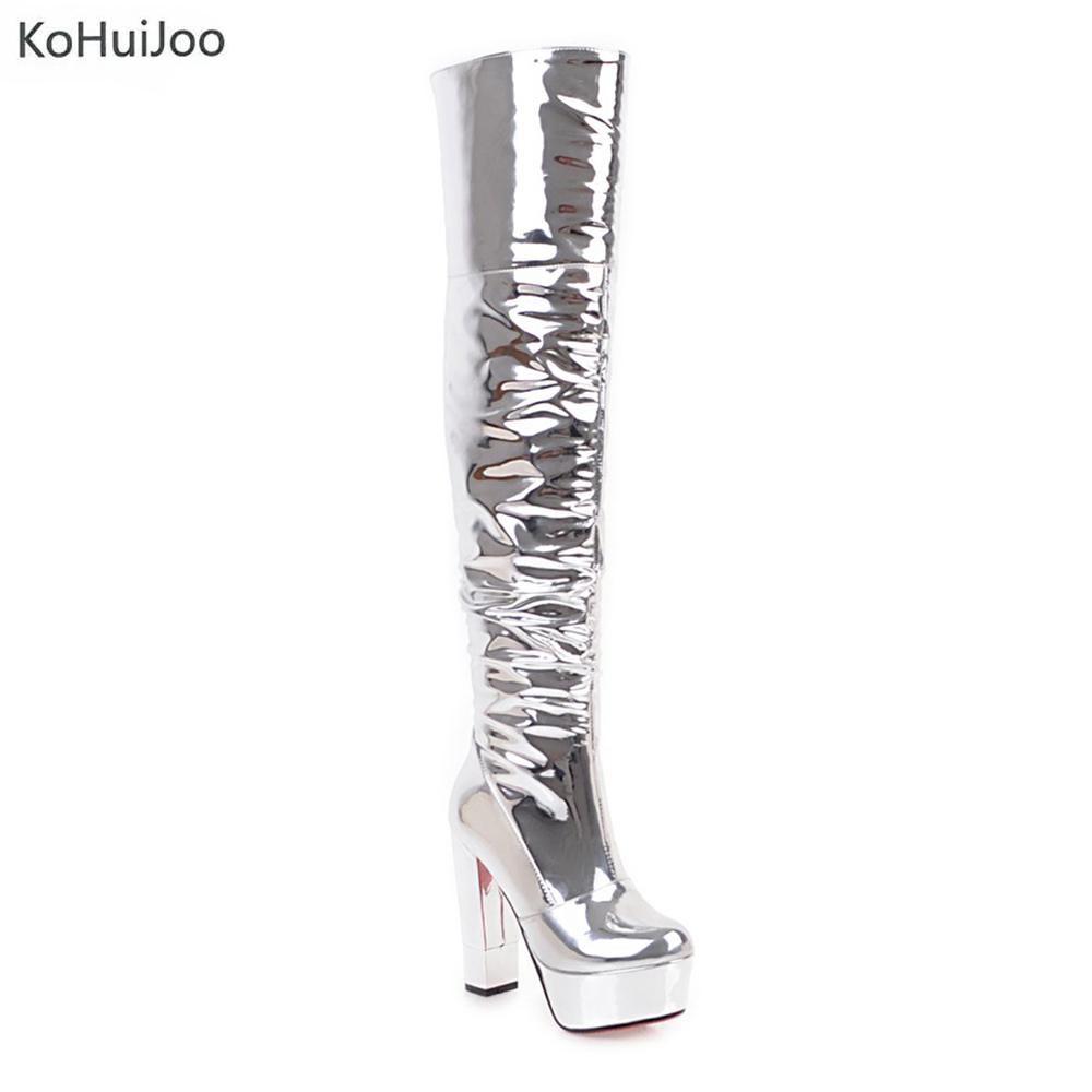 KoHuiJoo Thin Heels Women Snow Boots Over The Knee Boots Ladies Platform High Heels Pole Dancing Boots Women Thigh High Boots sexy patent leather thin heels women knee high boots big size ladies platform high heels pole dancing boots women mid calf boots