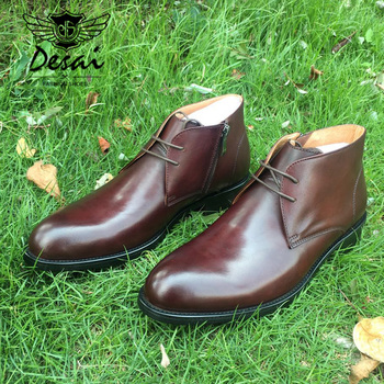 DESAI Round Plain Toe 100% Genuine Leather Boot Leather Outsole Goodyear Welted Bespoke Leather Boot Handmade Men's Martin Boot фото