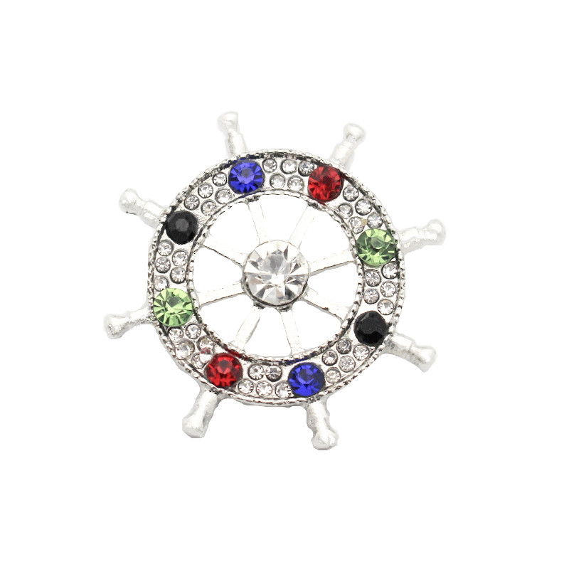 Hot Sale 10pcs lot Metal Colorful Rudder Crystal Silver Snap Charms Fit 18mm 20mm Snap Button Bracelets Replaceable DIY Jewelry in Charm Bracelets from Jewelry Accessories