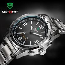2016 Nuevo reloj de Cuarzo Para Hombre Relojes Hombres Lujo de la Marca Weide DEL Dígito del LED Militar Reloj de Cuarzo Relojes de Pulsera Deportivo de Acero Inoxidable Relojes