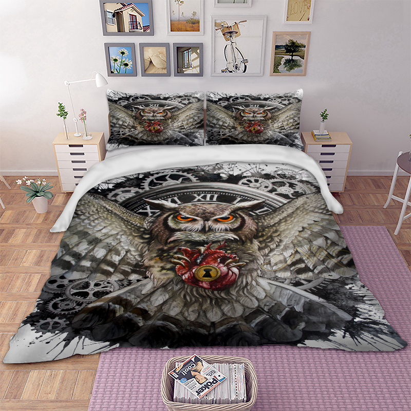 Owl Bedding Set Animal Duvet Cover Quilt Cover Pillow Cases Twin Full Queen King Super King Double Size 3pcs