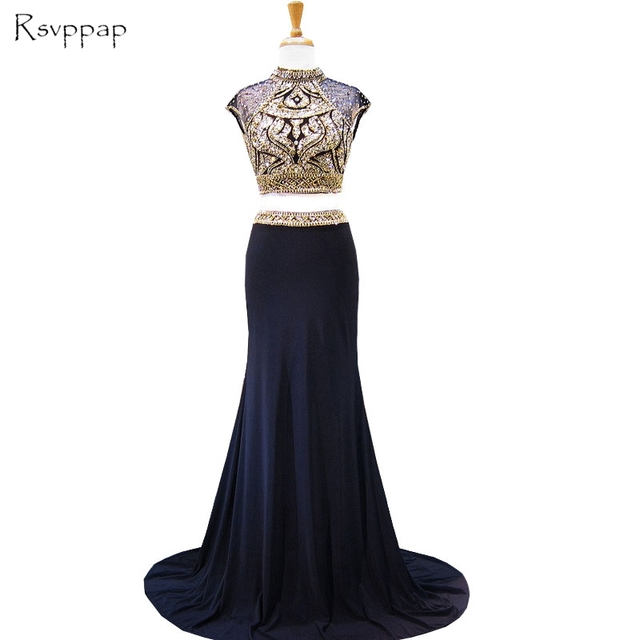 7dbb29af Sparkly Long Prom Dresses High Neck Cap Sleeve Beaded Crystals Floor Length  Backless African Navy Blue Two Piece Prom Dress 2019