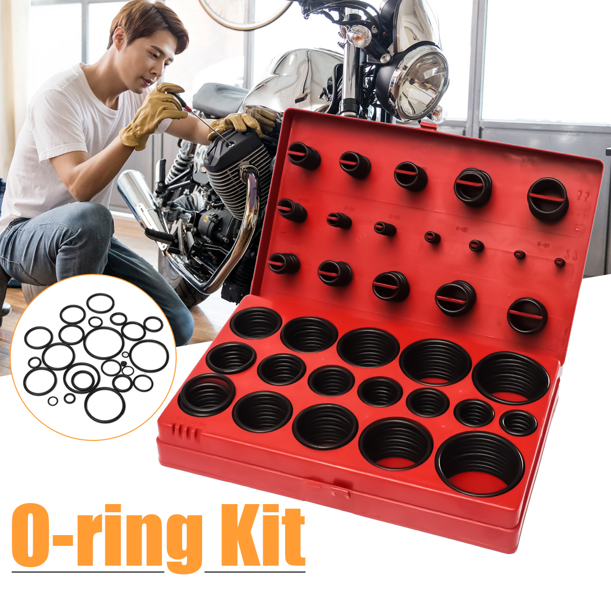 419Pcs Assorted O Ring Rubber Seal Assortment Set Kit Includes 32 Size Garage Plumbing With Case for Garages General Plumbers цена