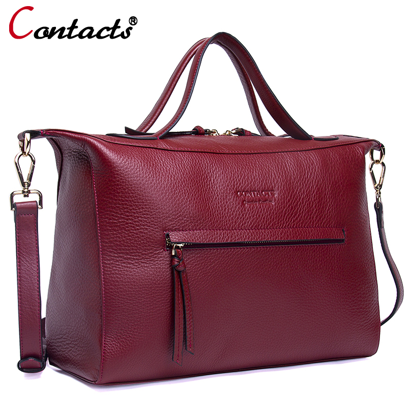 Contact's Crossbody bags for women messenger bags genuine leather handbag designer Large Capacity Shoulder Bag womens bag red contact s crossbody bags for women messenger bags genuine leather handbag designer large capacity shoulder bag womens bag red