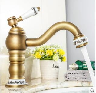 все цены на Free Shipping Retro Antique Basin Faucet Bathroom Sink Faucet Ceramic handle Luxury Basin Mixer Sink faucet Tap Brass Water Tap