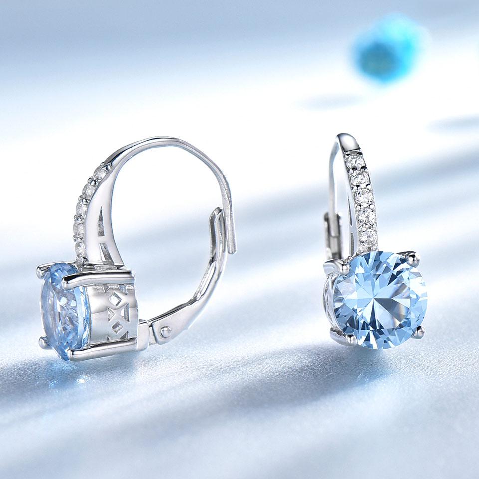 Image 2 - UMCHO Real 925 Sterling Silver Clip Earrings For Women Gemstone Sky Blue Topaz Female Earrings Round Wedding Valentine's Jewelry-in Earrings from Jewelry & Accessories