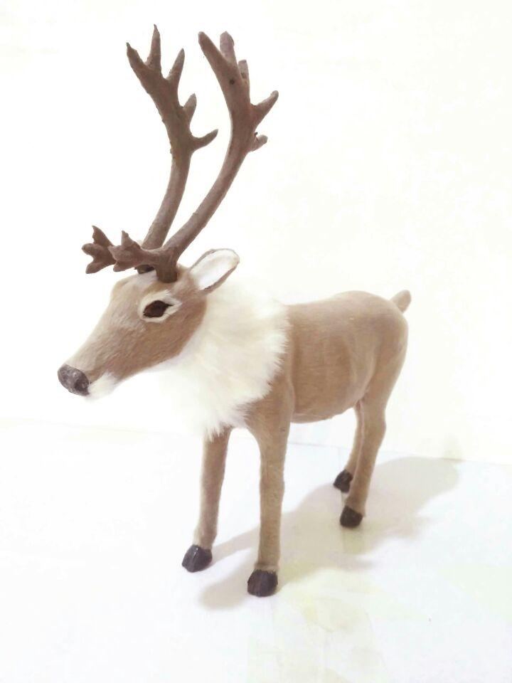 simulation reindeer plastic&furs christmas deer large 25x24cm hard model toy,prop,home furnishing decoration gift w2906 цены онлайн