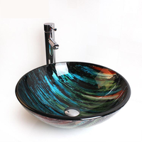 Creative Art Tempered Glass Washbasin Balcony Bathroom round glass sink bowl LO629221