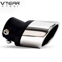 Vtear для RIO SOUL CERATO Forte K3, автомобильные круглые выхлопные трубы, глушитель, наконечник, аксессуары из нержавеющей стали, замена автомобиля-Стайлинг