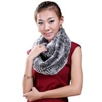 Rex Rabbit Fur Ring Scarf Long Collar Warm Russian Female Genuine Fur Scarf Gray Black Natural Real Fur Scarves Winter Woman