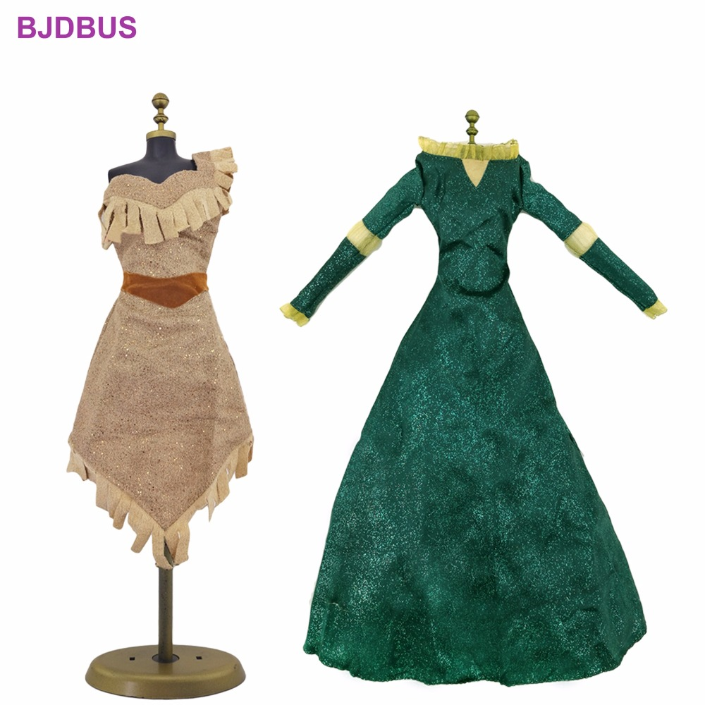 High Quality 2 Pcs / Lot Fairy Tale Dress Copy Pocahontas Merida Princess Gown Clothes For 17'' Doll Accessories Kids Xmas Gift fairy tale dress kids halloween princess cosplay dress