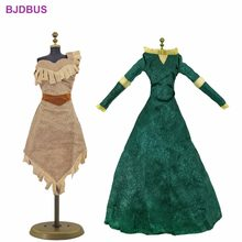 High Quality 2 Pcs / Lot Fairy Tale Dress Copy Pocahontas Merida Princess Gown Clothes For 17'' Doll Accessories Kids Xmas(China)