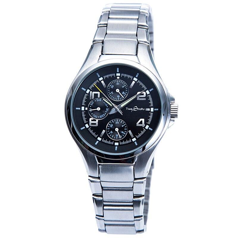 Британский Дизайн Для мужчин Лидирующий бренд Нержавеющаясталь черный Для мужчин армии хронограф 6 Руки 24 часа Функция спортивные часы