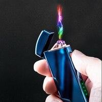 Usb recarregável isqueiro elétrico duplo arco à prova de vento charuto isqueiro flameless plasma arco isqueiro acessórios presente dos homens|Acessórios para cigarros| |  -