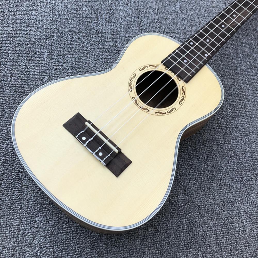 En STOCK guitare acoustique 4 cordes, ukulélé 24 pouces, haut picea asperata, dos et côté zebrawood, livraison gratuite