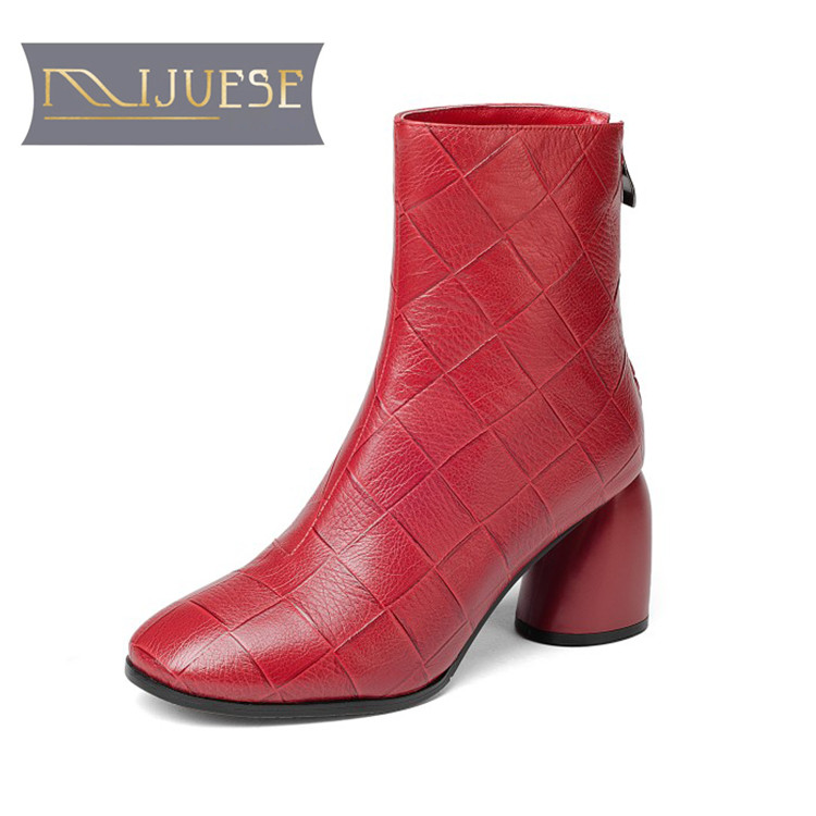 MLJUESE 2019 women ankle boots cow leather checkered red color short plush winter warm fur boots