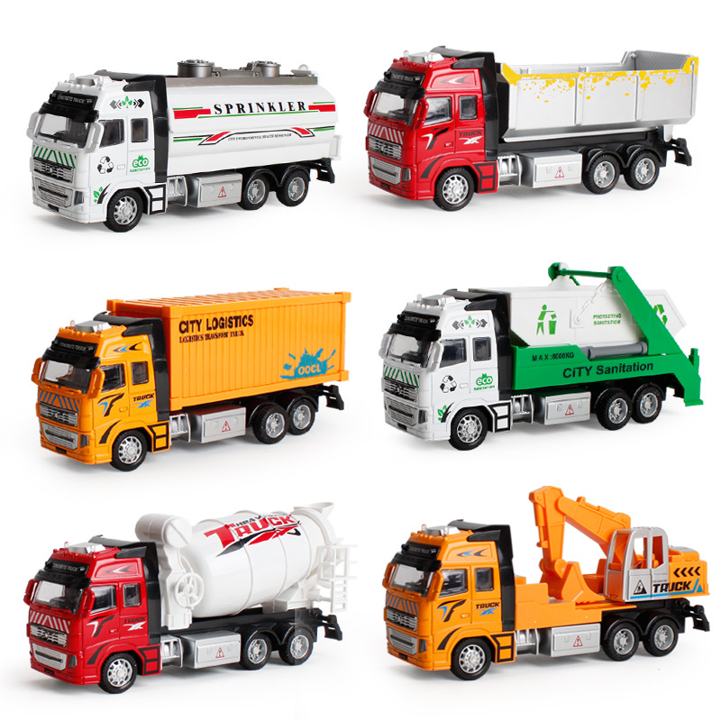 1:18 Toy Car Sliding Alloy Municipal Engineering Vehicle Model Fire Truck Car Model Excavator Garbage Truck Toy For Kids Gifts