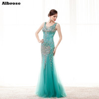 Charming 2017 Tulle back Long Mermaid evening dress V-neck Crystal Beautiful Prom Party Dress Pageant Gown vestido de festa