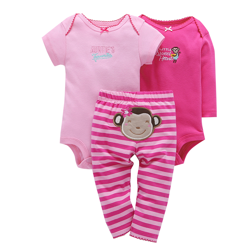 2018 spring baby girl clothes cotton romper+pant clothing set cute monkey print o-neck 3 piece set newborn baby girl outfit