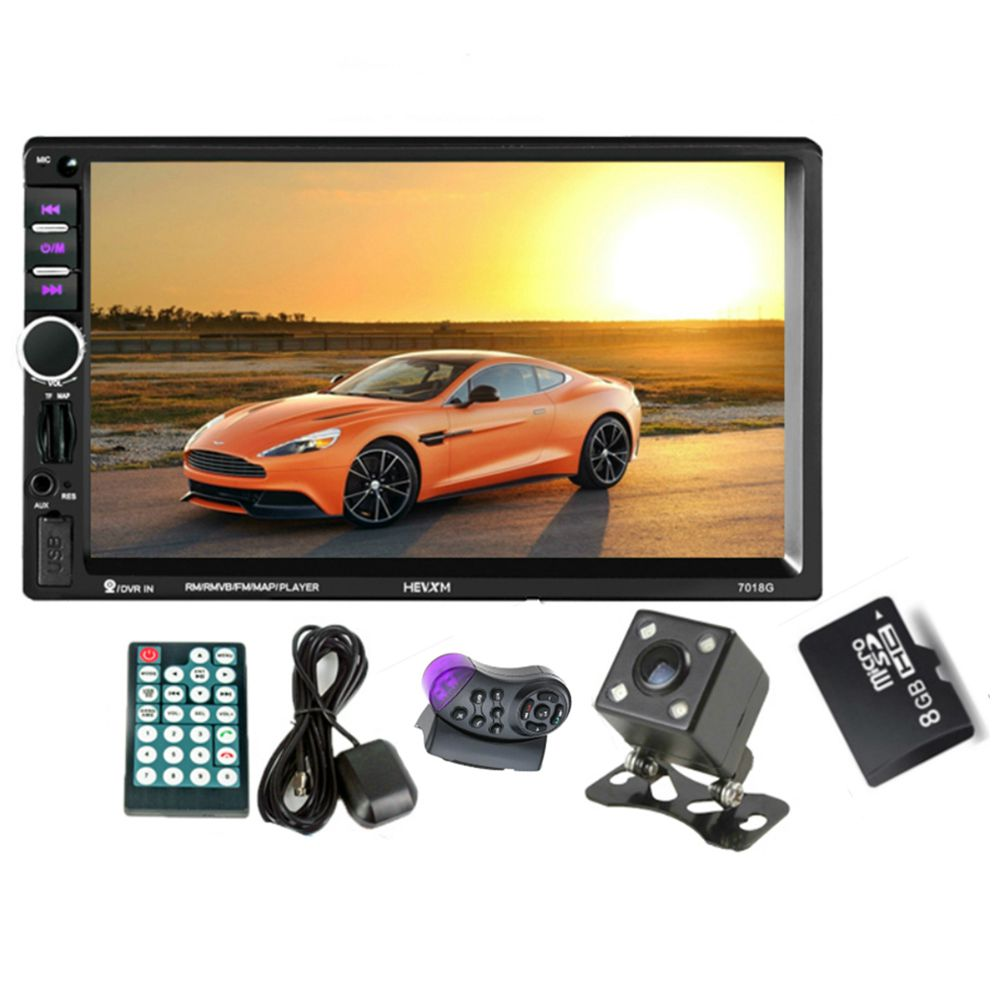 GPS Navigation 2 Din Car Bluetooth Radio Multimedia Mp5 Player 7 inch Touch Screen with Camera+Europe Map+Steering wheel contr