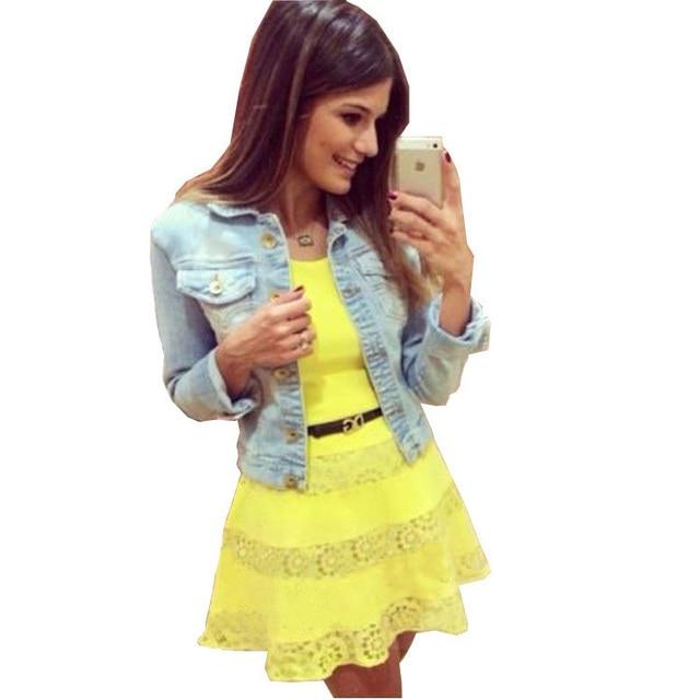 952ec79bdc32 2015 meninas adolescentes moda vestuário Petite mulheres Slimming Mini  amarelo bonito vestido de Renda Minnie vestido
