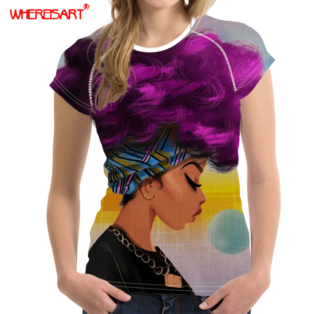 WHEREISART 2019 Summer African T-Shirt for Women Casual Tshirt Women T Shirt Black Girls Art Hairstyle Print T-Shirt Female