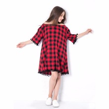 Girl summer off shouder dress red plaid children clothing dresses for teen 6 8 10 12 14 years loose strapless fashion kids dress