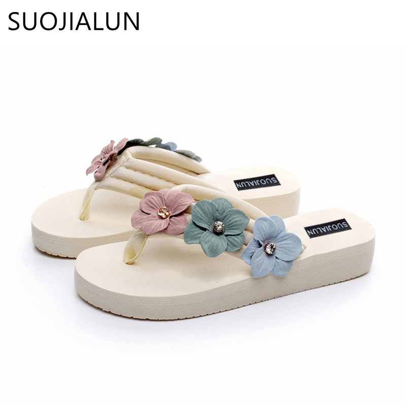 SUOJIALUN Plus Size 35-42 Women Summer Slippers Fashion Designer Flower Beach Flip Flops Lady Slippers Casual Flat Heel Shoes covoyyar 2018 fringe women sandals vintage tassel lady flip flops summer back zip flat women shoes plus size 40 wss765