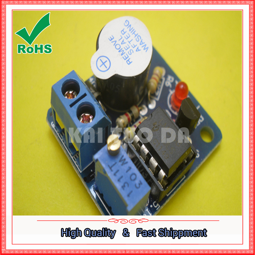 Free Shipping One Lot NEW 12V Accumulator Sound Light Alarm Buzzer Prevent Over Discharge Controller