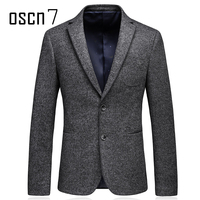 Oscn7 Two Button Slim Fit Mens Wool Blazer Autumn Winter Solid Coulor Formal Business Leisure Mens Suits Jacket Gray Wool Coats