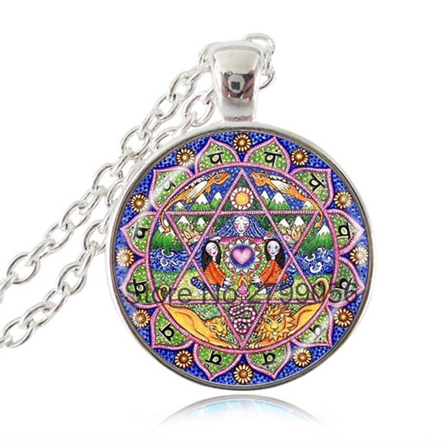 4th chakra pendant mandala flower heart necklace inspirational 4th chakra pendant mandala flower heart necklace inspirational meditation spiritual jewelry yoga anahata hexagon wiccan choker mozeypictures Images