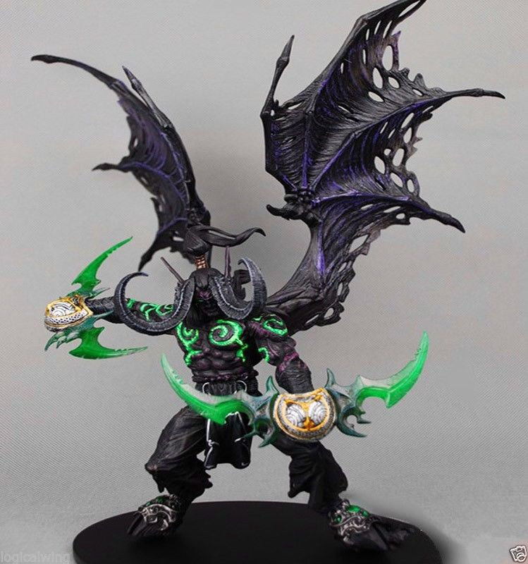 WOW Demon hunter Form ILLIDAN STORMRAGE Deluxe Collector Boxed Figure BLACK Purple 2 styles wow 6 world of war tauren hunter deluxe action figure statue
