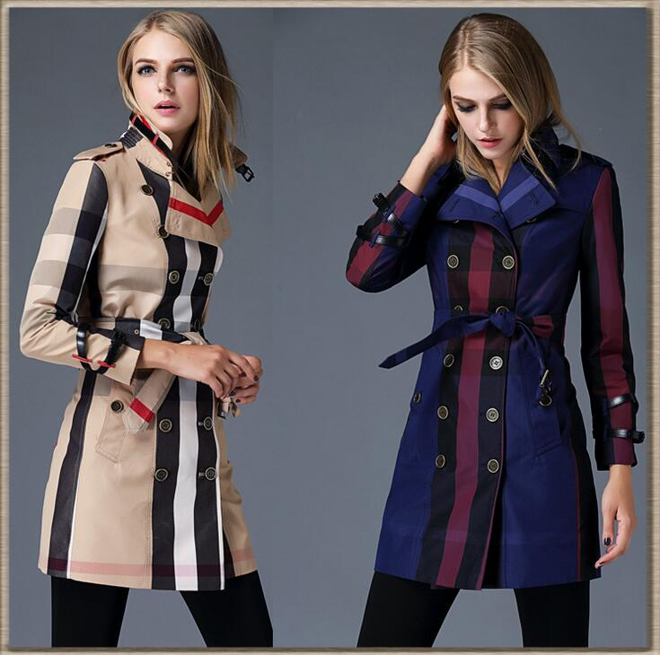 Hot 2016 New spring Fashion Casual women's B Brand Trench Coat Long Outerwear loose clothes for lady good quality Dress