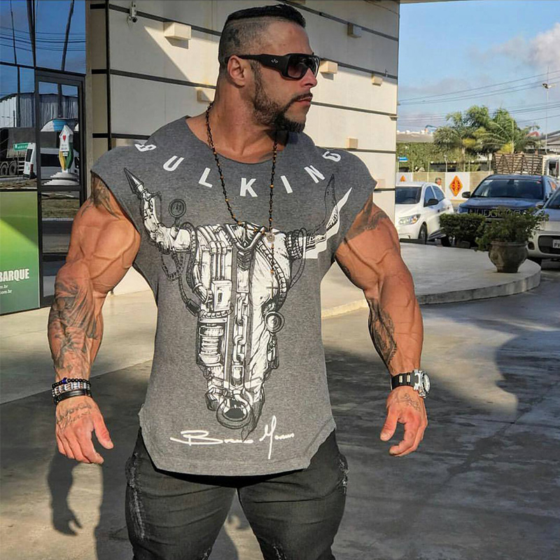 Men Short sleeve Printed   t     shirt   Summer Gyms Fitness Bodybuilding Cotton Slim   T  -  shirt   Male Man Tee Tops Casual Fashion clothing