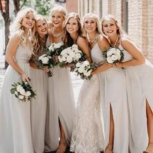 New Chiffon Long Bridesmaid Dresses For Women 2020 Sexy Spag