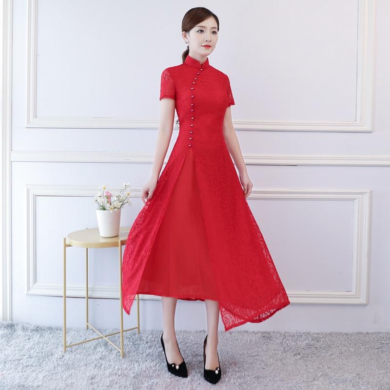Traditional Wedding Party Vietnam Style Ao Dai Qipao Long Dress For Women