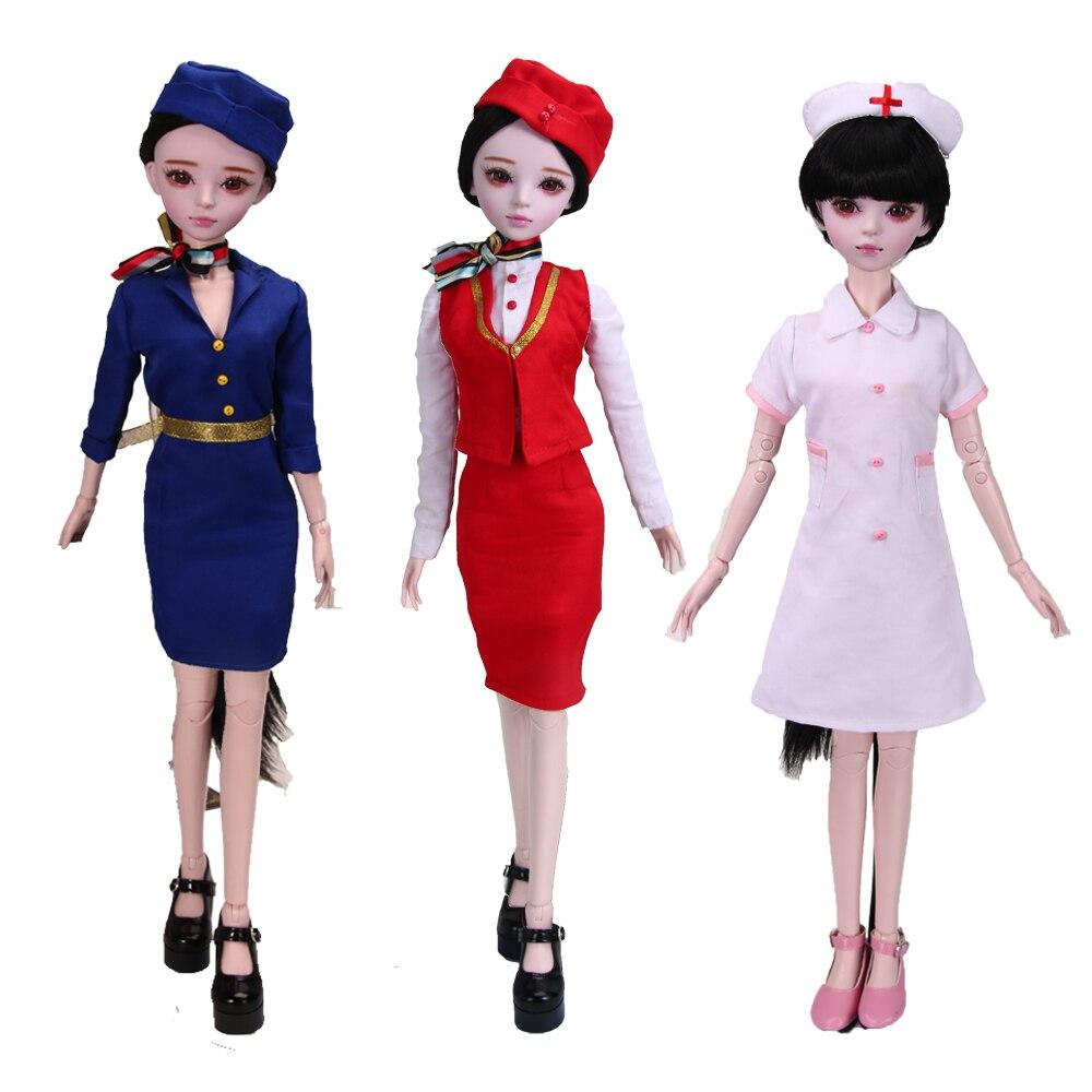 60CM Handmade Professional Female 1/3 Bjd Dolls Stewardess/Nurse/Police 23 Jointed Doll Girls Toys Birthday Christmas Gift60CM Handmade Professional Female 1/3 Bjd Dolls Stewardess/Nurse/Police 23 Jointed Doll Girls Toys Birthday Christmas Gift
