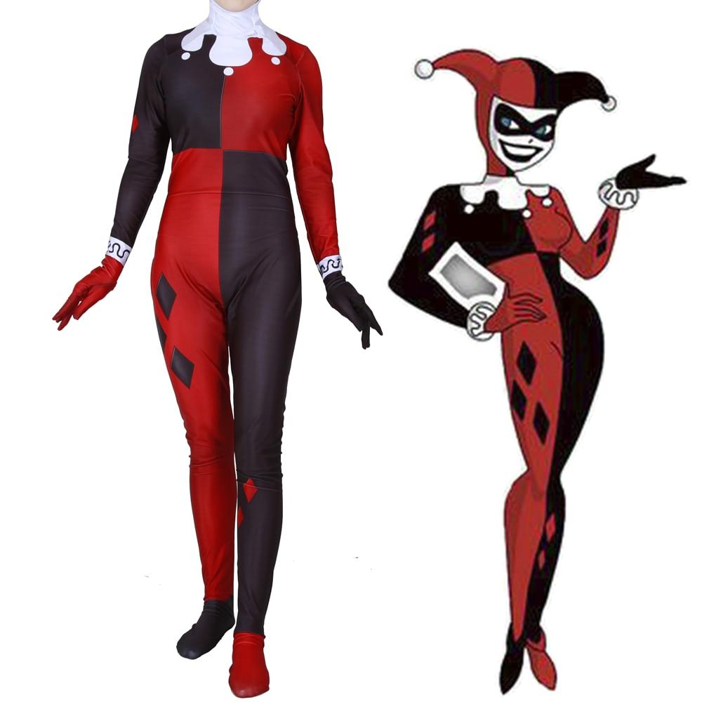 Women Girls Suicide Squad Harley Quinn Cosplay Costume Zentai Superhero Harleen Quinzel Bodysuit Suit Jumpsuits