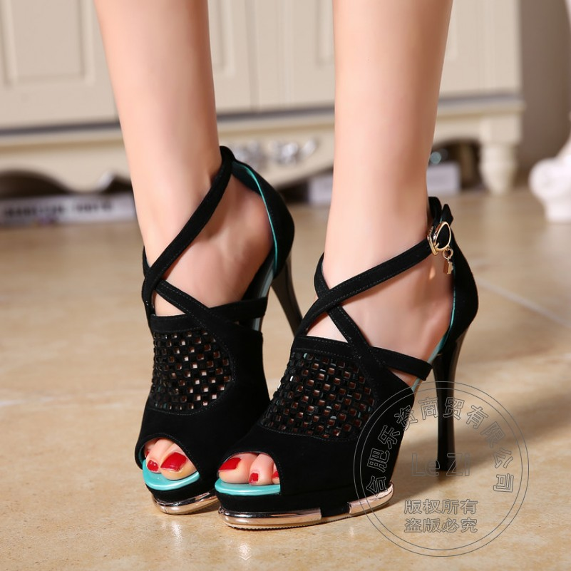 ФОТО Stiletto Shoes For Women Gladiator Ladies High Heel Shoes Prom Open Toe Club Sexy Evening Sheepskin Show Strappy