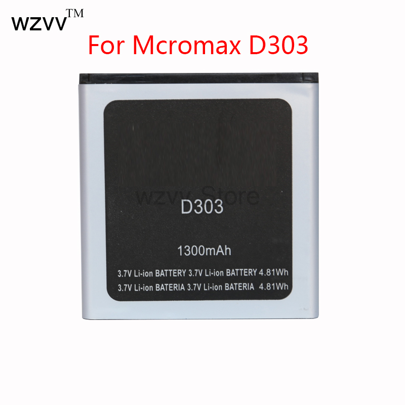 wzvv Replace Battery Original New Battery 1300mAh For Micromax D303 D 303 Mobile Phone Batterie + Tracking Code