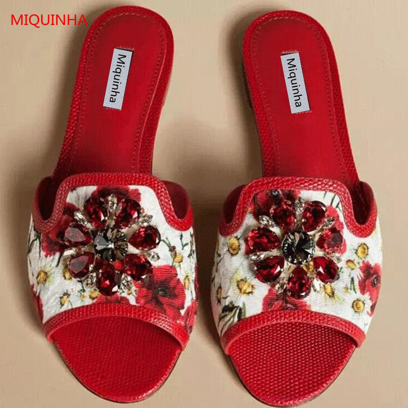 Red Floral Print Leather Embellished Crystal Flat Slippers Open Toe Luxury Rhinestone Flower Candy Color Hot